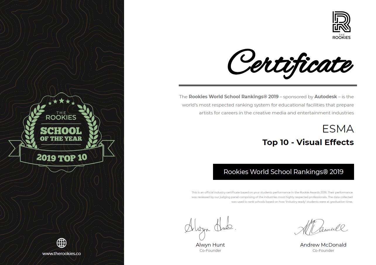 Diplôme 2019 de The Rookies décerné à l'ESMA en tant que 10 meilleure école d'effets visuels au monde