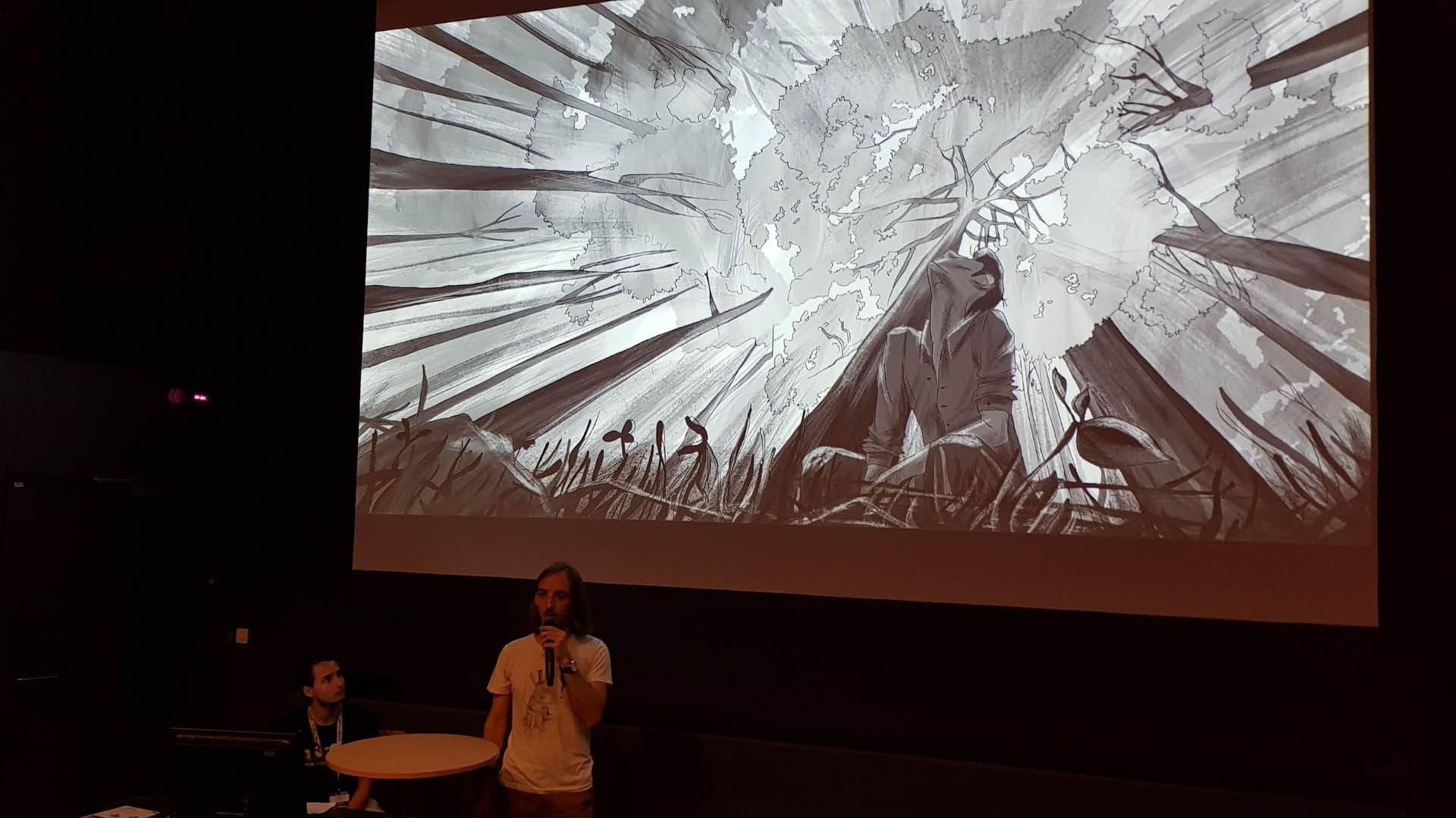 Rémi Portes Narrieu en pitch au Cartoon Forum 2019 à Toulouse