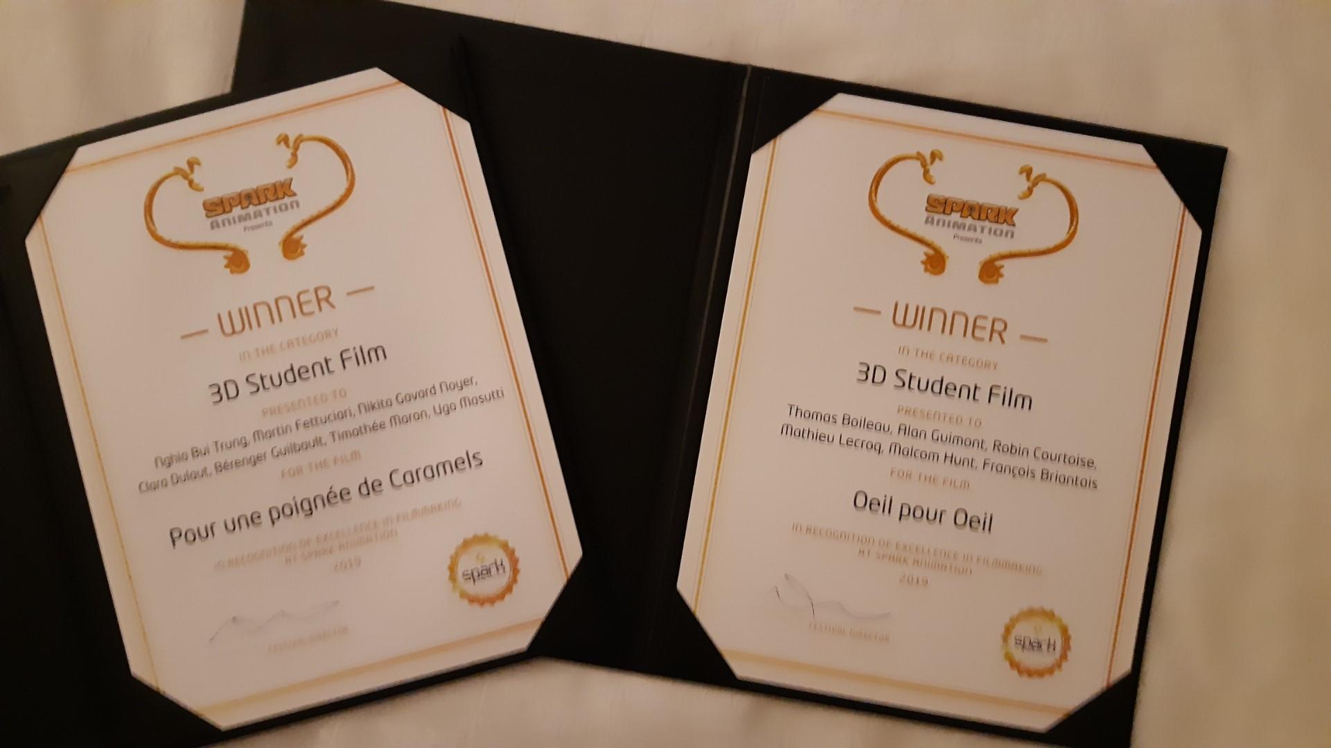 Prix films ESMA Spark Animation Vancouver 2019