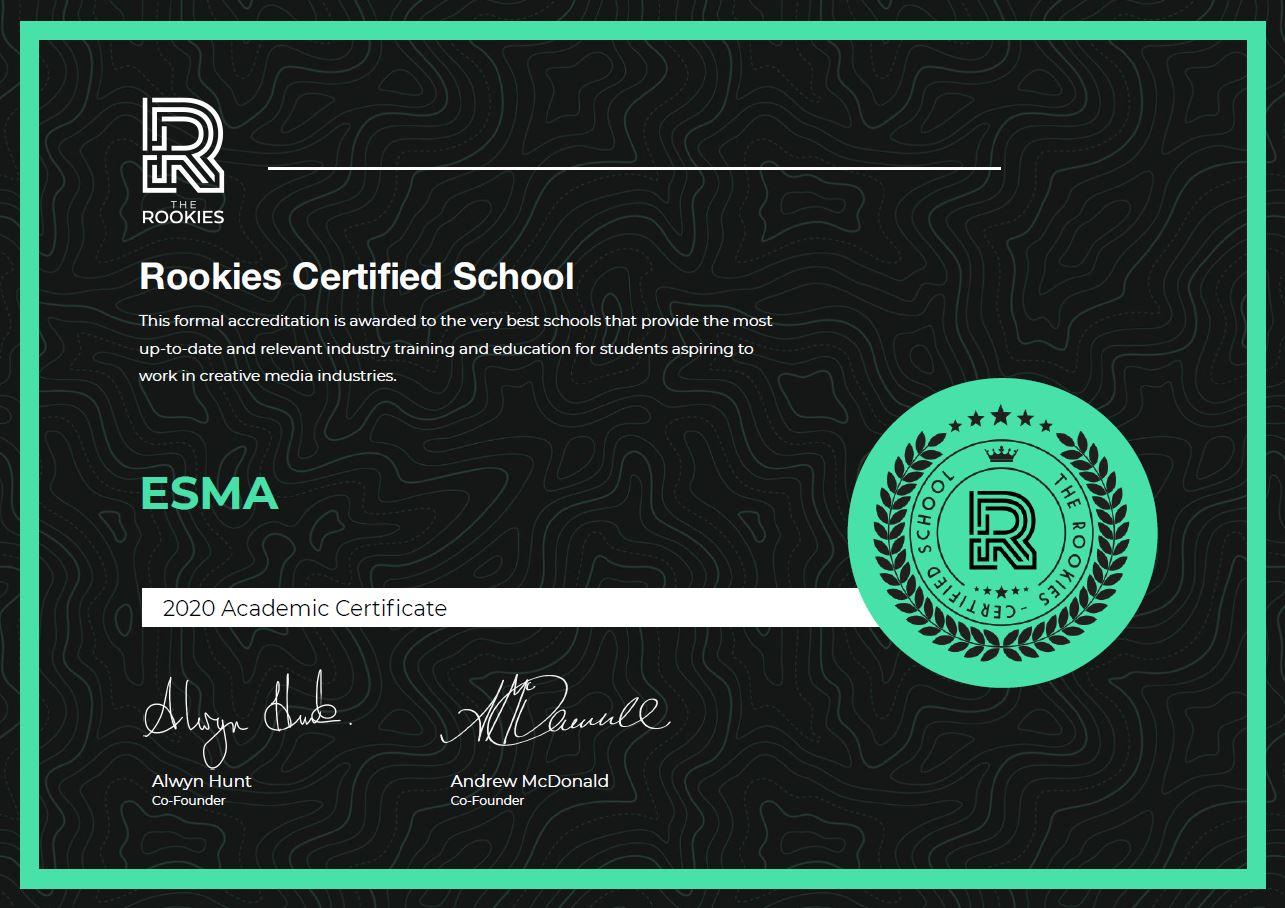 esma école certifiée par the rookies