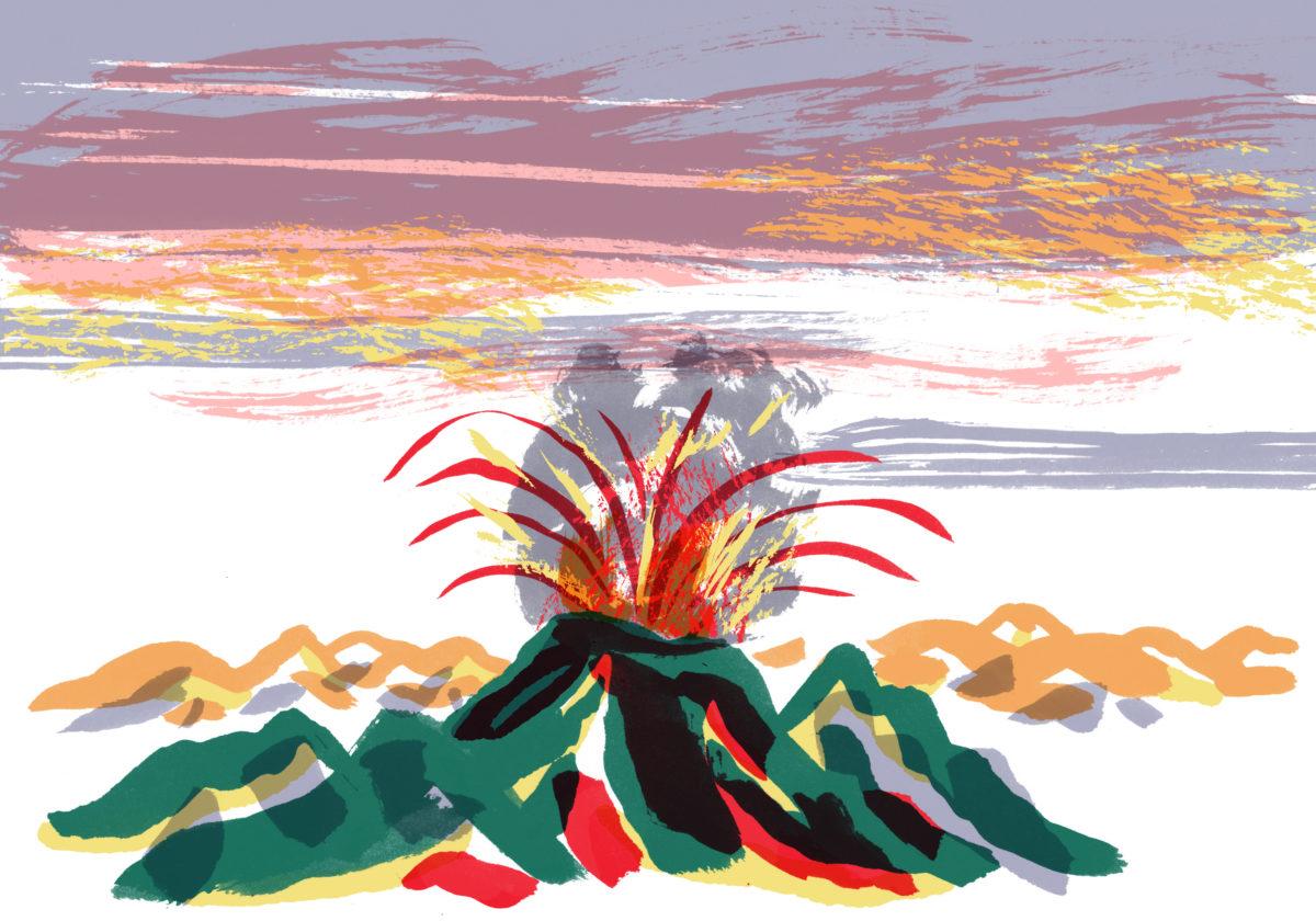 Dessin d'un volcan par Charlotte des Ligneris