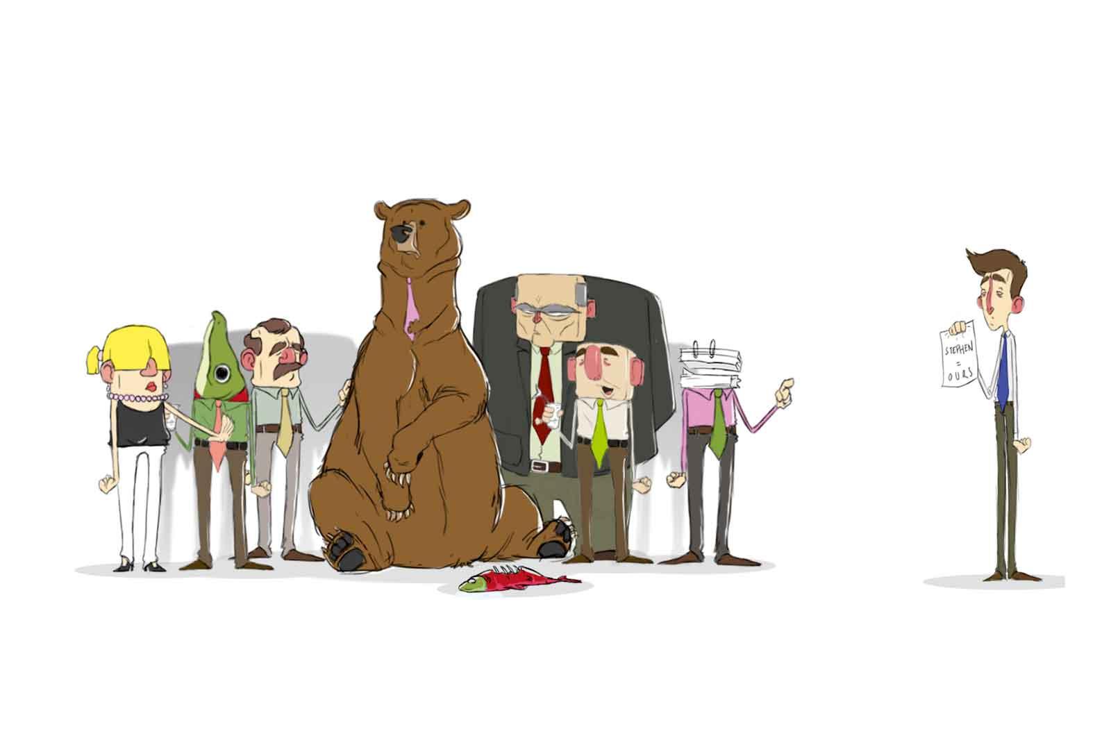 Line UP personnages Comme un ours